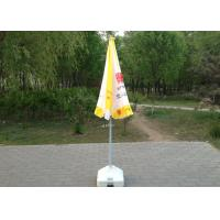 Quality Yellow And White Sun Beach Umbrella Uv Protection With Screen Printed for sale