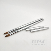 Quality Size #8 10 Silver Sable Kolinsky Hair Wooden Nail Brush Brass Ferrule for sale