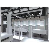 Buy Simple Nice Men Clothing Display Case / Apparel Store Fixtures Glossy White Color at wholesale prices