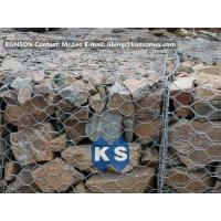 Quality PVC / Zinc Coated Wire Mesh Gabion Retaining Wall , Galvanized Hexagonal Wire Fence for sale