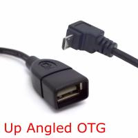 Quality 90 Degree Up & Down Right Angled Connector Micro USB 2.0 Male to USB 2.0 Female OTG Cable Adapter 10cm for sale