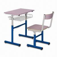 Quality Students Adjustable Desk and Chair, Made of Steel Frame and Plywood for Seat for sale