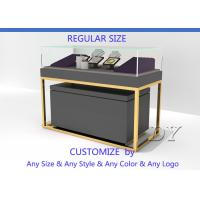 Buy Gray Gold Stain Steel Jewelry Display Cabinet Showcase With Light at wholesale prices