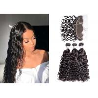 Quality Strong Weft 3 Water Wave Hair Bundles With Frontal 8A Grade No Bad Smell for sale