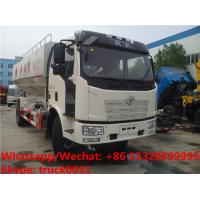Quality HOT SALE! good price FAW brand 4*2 LHD 10tons bulk feed fodder transporting truck , electronic discharging feed truck for sale