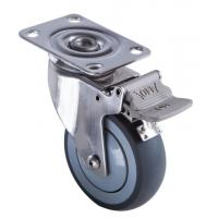 Quality TPR Stainless Steel Swivel Caster Wheels / Total Locking Steel Casters for sale