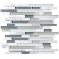Quality Bliss Iceland Linear Glass And Marble Mosaic Tile , Recycled Bathroom Glass Tiles for sale