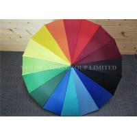 Quality Wooden Handle Large Rainbow Coloured Umbrella , Solid Stick Umbrella Auto Open for sale