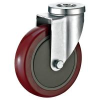 "Quality Heavy Duty Red PU Shopping Cart Casters For Food Service Equipment 5""X1-1/4"" for sale"