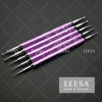 Quality 5PCS Set Metal Nail Dotting Tools Purple Color With Dots Engrave Flower Decoration for sale