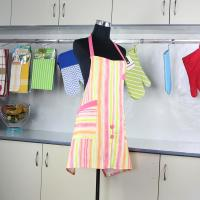 Buy Household Pink Stripes Printed Bib Kitchen Cotton Apron With Pocket at wholesale prices