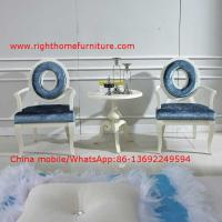 Quality Leisure fabric with white painting solid wood chair in Neoclassical design and cocktail end table for sale