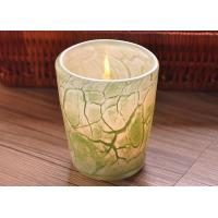 Quality Create modern glass candle holders green leaf pattern , 280ml Capacity for sale