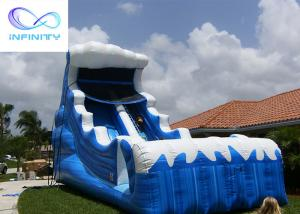 Quality Commercial 6.5 Meters High Blue Wavy Inflatable Water Slide For Outdoor Summer Fun for sale