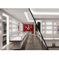 Buy Matte White Color Jewellery Display Cabinets With LED Lighting Decoration at wholesale prices