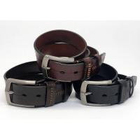 China Genuine Men'S Luxury Leather Belts , Mens Reversible Leather Belt With Thick Thread Decoration on sale