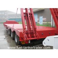 Quality 13m x 3m 3 Axle Low flatbed truck trailer with hydraulic ladder with 4mm checkered plate for sale