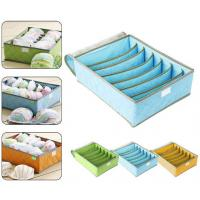 Quality 7Cell Bamboo Charcoal Storage Boxes Bra Underwear Closet Organizer Drawer Divider Green for sale