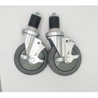 Quality 5 Inch Locking Expanding Stem Casters For Food Service Equipment Zin Plate for sale