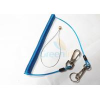 Quality Stretchy Coiled Key Lanyard Blue , Coiled Lanyard Cord With Wire Loop Holder for sale