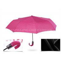Quality Beautiful Pink 3 Fold Automatic Umbrella , Large Elbow Curved Handle Umbrella for sale