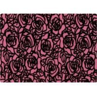 Quality 100% Polyester Rose Patterned Flocked Velvet Fabric 140-150gsm for sale