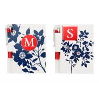 China Flower White Printed Personalized Notebooks With Pen , Custom Notepads on sale