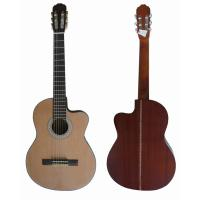 Quality Vintage 39inch 4/4 Cutaway  Spruce Top Sapele Back Wood Classical Guitar Natural Color for sale