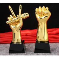China Handmade Custom Trophy Cup Gold Plated In Boxing Matches Victory Fist Shape on sale