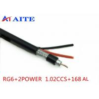 China 168AL Braid RG6 Siamese Coax Cable 1.02mm BC 4.7mm FPE 18AWG CCA Power Wire on sale