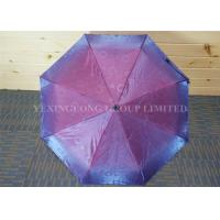 Quality Fashion Red Pongee Compact Folding Umbrella , Shinning Reflective Rain Umbrella for sale