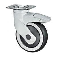 Quality Full Plastic Bracket Medical Caster Wheels With Brakes Swivel Plate Fitting for sale