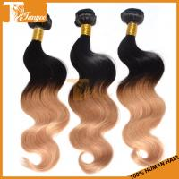 China 100% unprocessed remy human hair extensions cheap ombre color 1b/27 brazilian body wave hair weaving on sale