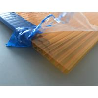 Buy Orange Double Wall Polycarbonate Panels , Polycarbonate Hollow Sheet UV Resistant at wholesale prices