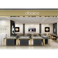 Quality S/S + MDF + Glass + Lights Gold Jewellery Showroom Interior 3D Design for sale