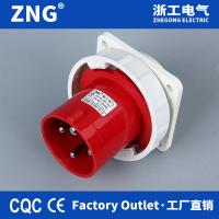 China Panel mounting appliance inlet 415V 4P 63A, Industrial Wall Plug 63a 3P+PE, Industrial Reverse Plug IP67 for sale