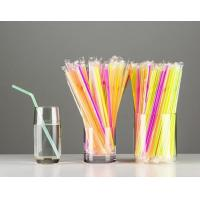 China Ø 5mm / 21cm Flexible Straws,neon color, Individually Paper Wrapped 250/bag, 8 Inch on sale