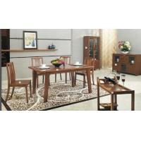 Quality Full Rubber Solid Wood Dining Table , Dining Room Chairs Wine Cabinet for sale