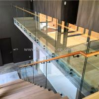 Buy Safety Frameless Toughened Glass Railing withStainless Steel Standoff at wholesale prices