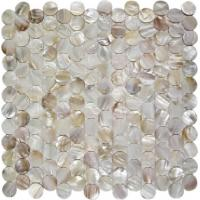 Quality Round Mother Of Pearl Bathroom Tiles Fresh Water Seashell Decor 2mm Thickness for sale