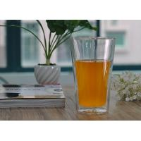 Quality Long clear heat resistant Double Wall Borosilicate Glass in Lemon juice drinking for sale