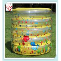 Custom 5 Ring PVC Inflatable Kids Swimming Pools Round With Double Bottom