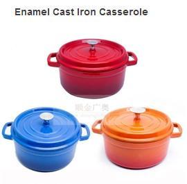 China Cast Iron Enameled Cookware/Enamel Cast Iron Casserole/Round Enamel Pots on sale