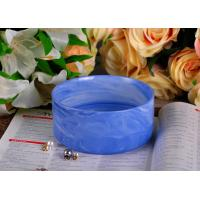 Quality Blue Marble Round Shape Ceramic Candle Holder with Different Color Effects for sale