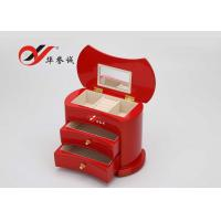 Quality Simple / Compact Small Wooden Jewellery Box Organizer Easy Clean With 2 Drawers for sale