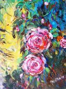 Quality flower painting rose picture frameless picture 40x40cm for sale
