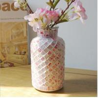 China Pastoral style pink mosaic glass bottle home decoration vase on sale