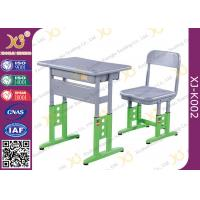 Quality Adjustable Metal Student School Table and Chairs With Skid Resistance Legs for sale