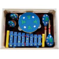 Buy Kawai Kids Musical Instrument With Wooden Box Outfit Four Pcs Simple Percussion Toy at wholesale prices
