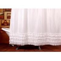Quality Ruffled White Bathroom Shower Curtains Waterproof Thickening Machine Wash for sale